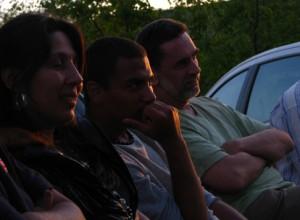 Orsós Anikó, Glonczi László Kubu és Ruzsa Ferenc éppen Körtvélyesi Tibor előadását hallgatja, amely Buddha születésének datálásáról szólt.