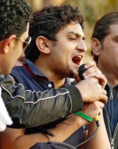 Wael Ghonim február 8-án a Tahrir téren (Reuters - Dylan Martinez)